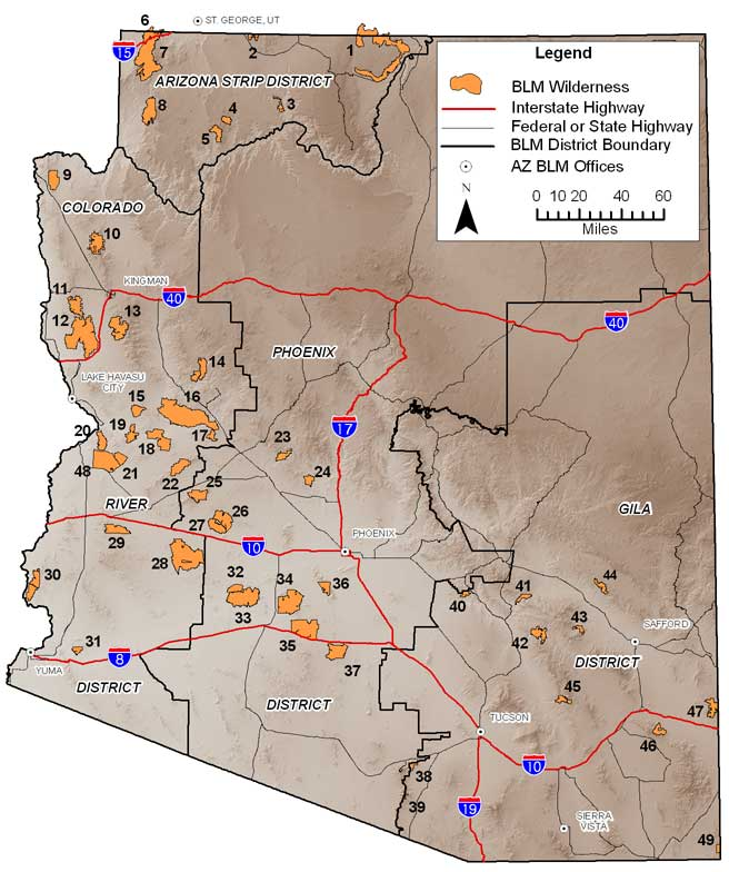 BLM AZ - Wilderness Areas Map